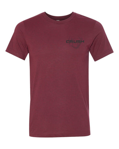 Men's/Unisex Live to Hunt - Hunt to Live Spine Print and front chest antler logo Heather Maroon Tee