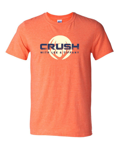 Men's/Unisex Smoked It Spine print - CRUSH circle logo Heather Orange with Navy imprint tee