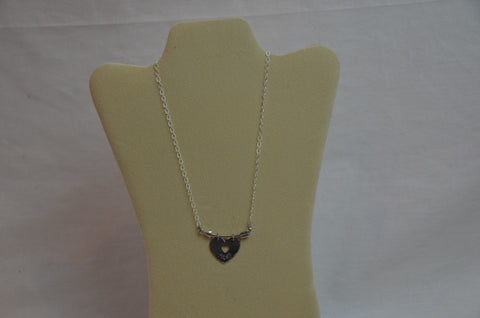 Handmade silver delicate chain necklace with Horizontal arrow and CRUSH stamped heart dangling from arrow