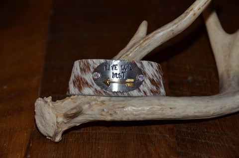 "Handmade Brown/White fur cowhide Live Love Hunt 1"" cuff with swarovski rivet accents"