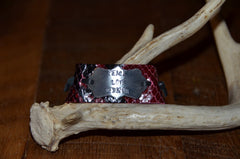 "Handmade Cardinal Red/Black Python leather 1"" cuff with Peace Love Venison tied on tag"