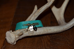Handmade Turquoise thin leather bracelet with brass arrow and BBD tag and dangle charms