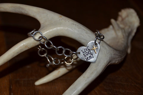 Handmade large chain link textured bracelet - Live Love Hunt Heart tag with toggle closure