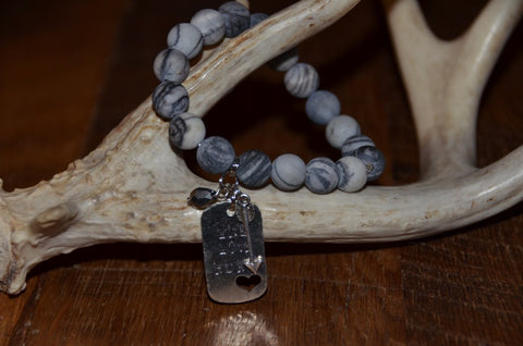 Handmade Howlite Marbled Gray Matte Beaded Stretch Bracelet with Live Love Hunt and arrow charm