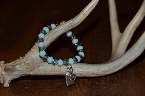 Handmade Aqua faceted sparkly Beaded Stretch Bracelet with BBD tag