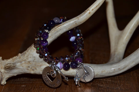 Handmade Purple faceted sparkly Beaded Stretch Bracelet with Live Love Hunt tag and arrow