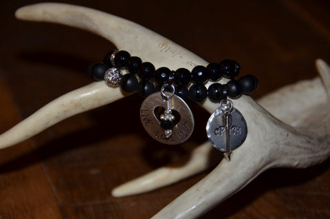 Handmade Black smooth matte bead with shiny tuxedo stripe Beaded Stretch Bracelet with circle CRUSH charm and arrow