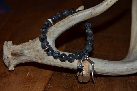 Handmade Smooth Marbled Gray Beaded Stretch Bracelet with rhinestone beads and BBD charm and antler
