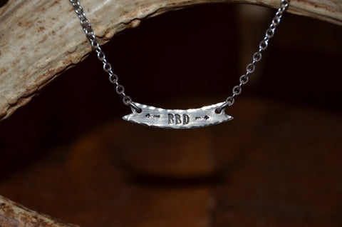 Handmade silver chain necklace with BBD horizontal curved rectangle bar