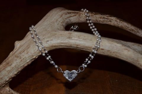 Handmade double pearl strand necklace with Live Love Hunt heart tag
