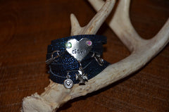 Handmade Navy/Royal Blue sparkly slit leather wraparound bracelet with CRUSH heart and multiple charms