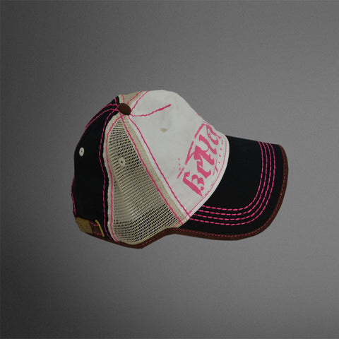 Bellatine by Tiffany cap. White, black, with tan center mesh panel. Pink accents.