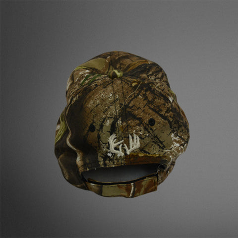 Realtree full camo cap with frayed khaki Crush patch