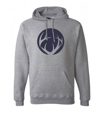 Gray Crush Unisex Hoodie with Navy Blue Circle Logo