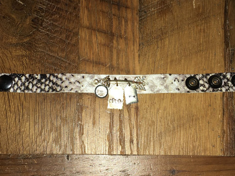 Handmade black/white python print thin leather bracelet with gold Rhinestone arrow and CRUSH tag and dangle charms