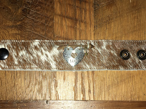 Handmade brown/white fur cowhide cuff with arrow and Live Love Hunt heart dangle tag
