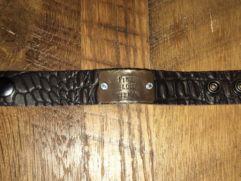 "Handmade Dark Brown croc pattern leather 1"" cuff with Peace Love Venison tag and swarovski rivets"