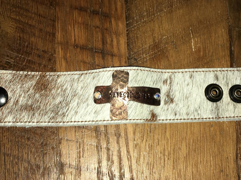 Handmade brown/white fur cowhide cuff with Copper cross Genesis 27:3 tag