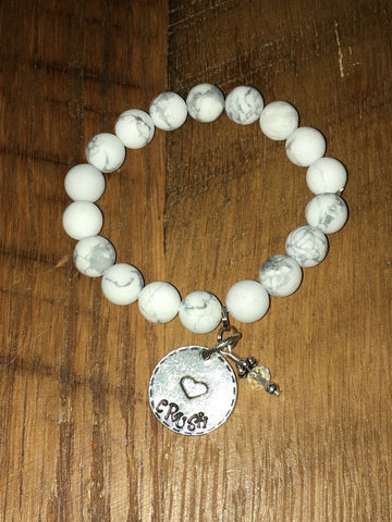 Handmade Howlite White Matte Beaded Stretch Bracelet with Crush circle charm