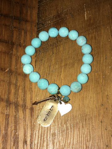 Handmade Howlite Turquoise Matte Beaded Stretch Bracelet with BBD and arrow charm