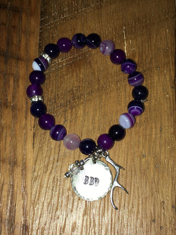 Handmade smooth marbled purple Beaded Stretch Bracelet with circle BBD charm and antler
