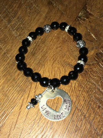 Handmade Black faceted with rhinestone sparkly beads Beaded Stretch Bracelet with Live Love Hunt charm and black charm