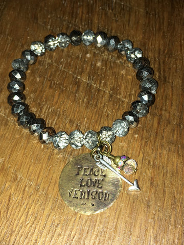 Handmade Hematite Gray faceted sparkly Beaded Stretch Bracelet with Peace Love Venison and arrow charm