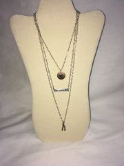 Handmade triple layer heart chain necklace with copper circle/heart, CRUSH bar and arrow/sparkle dangle