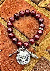 Handmade Deep Red Quartzite stone Heartstopper beaded bracelet