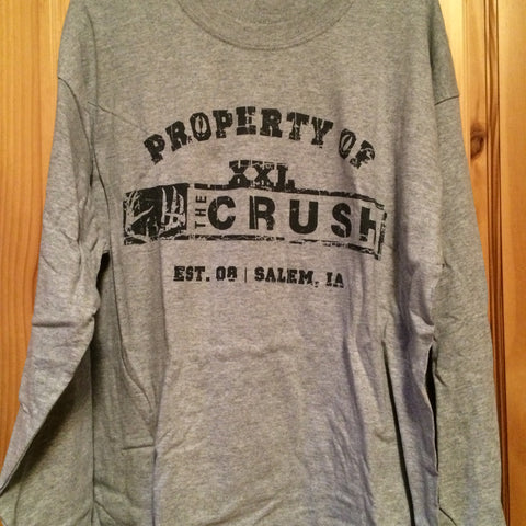 Property of the Crush (original style) heather gray long sleeve tee