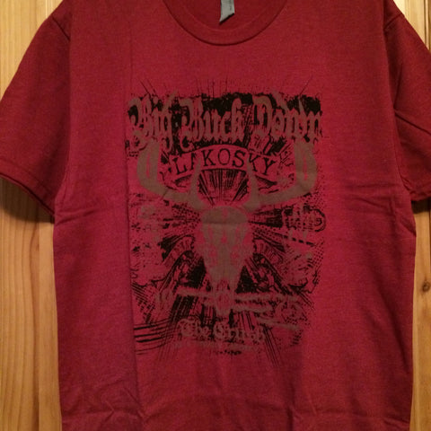 Big Buck Down Heather Red Skull Tee