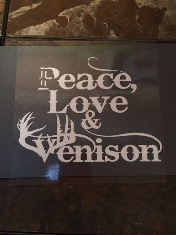 Peace Love Venison Clear/White Window Cling