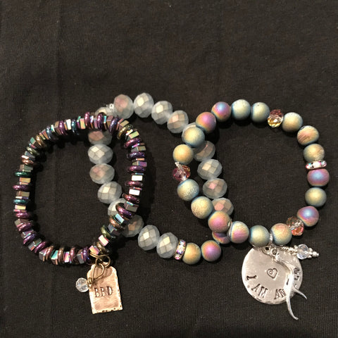 Handmade 3 Piece Frosted Deep Druzy Agate Stone Beaded Bracelet Set