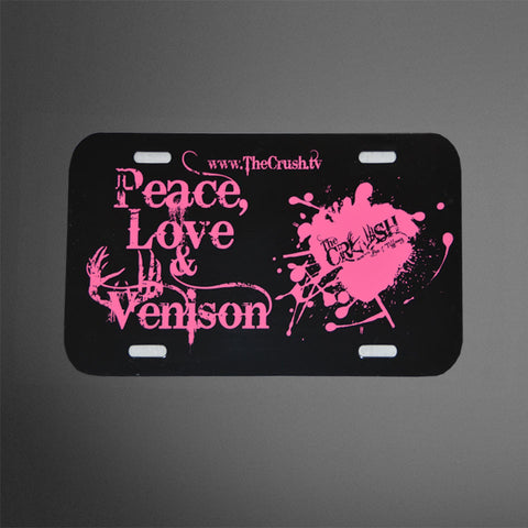 Peace Love Venison Plastic License Plates