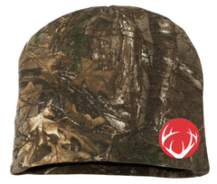 Camo Beanie with Red embroidered antler circle logo