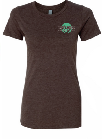 Women's Peace Love Venison with antler logo back print Chocolate Brown Ladies fit Tee