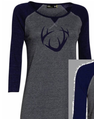 Women's Under Armour Brand CRUSH Antler logo Heather Gray and Navy 3/4 sleeve Ladies/Loose fit Tee
