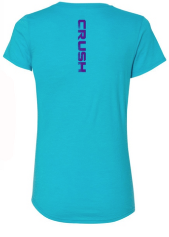 Women's CRUSH circle logo Bright Turquoise Scoop-hem Semi-Fitted Tee
