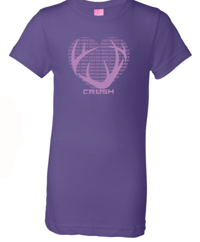 Youth Girls CRUSH Antler logo with Peace Love Venison heart background Purple tee with glittery imprint