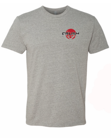 Big Buck Down Heather Gray with Red antler logo Back imprint tee