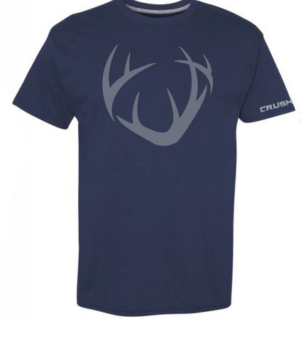 Men's/Unisex Full front CRUSH logo antler. Navy blue with Gray imprint tee