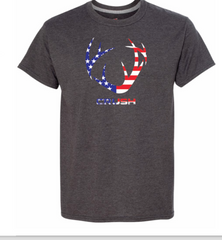 Men's/Unisex Patriotic CRUSH Antler Heather Charcoal Tee