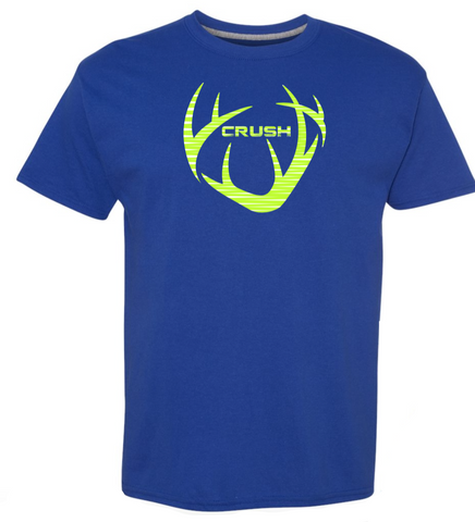 Youth CRUSH and logo antlers with Big Buck Down Back Spine Print Royal Blue Boys Tee