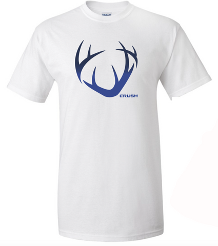 Men's/Unisex Full front CRUSH logo antler and Big Buck Down Spine print. White with Navy-Royal Ombre Fade imprint tee