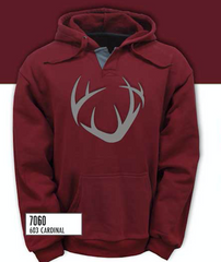 Cardinal Red Premium Unisex Hoodie with Gray Felt Antler logo Patch