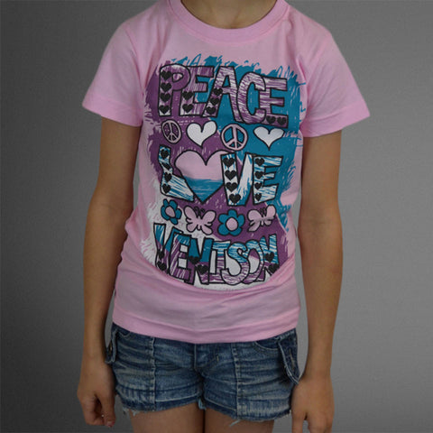 Peace Love Venison pink girls tee