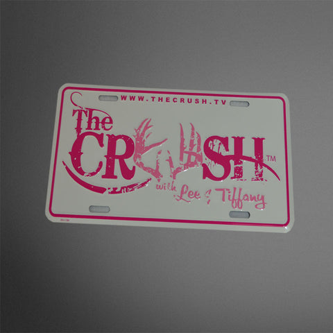 Crush White/Pink Metal License Plate