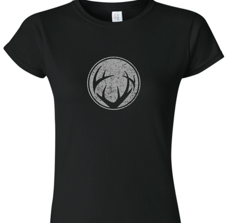 Women's Black fitted tee with Silver shimmer circle antler logo and lower back hem Crush logo imprint