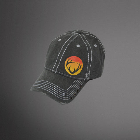 Faded Gray cap with sunset circle antler logo and rivet accents