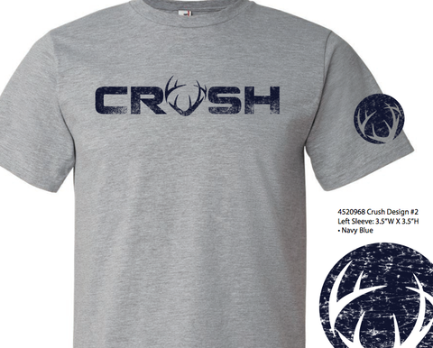 Heather Gray tee with Navy Crush logo imprint
